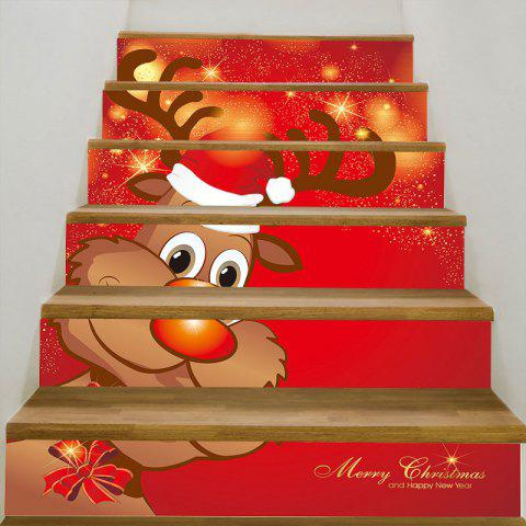 DIY Lovely Christmas Deer Printed Decorative Stair Stickers - RED 100*18CM*6PCS