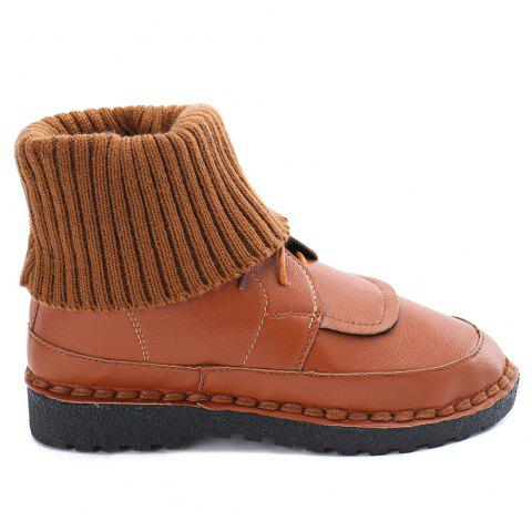 Low Heel Whipstitch Lace Up Boots - LIGHT BROWN 36