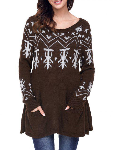 Christmas Front Pocket Jacquard Tunic Sweater - BROWN XL