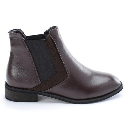 Stacked Heel Chelsea Ankle Boots - COFFEE 36