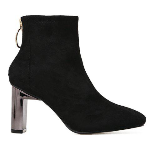 Square Toe Chunky Heel Faux Suede Ankle Boots - BLACK 35