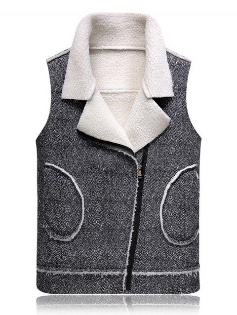Fleece Oblique Zip Up Waistcoat - BLACK WHITE L