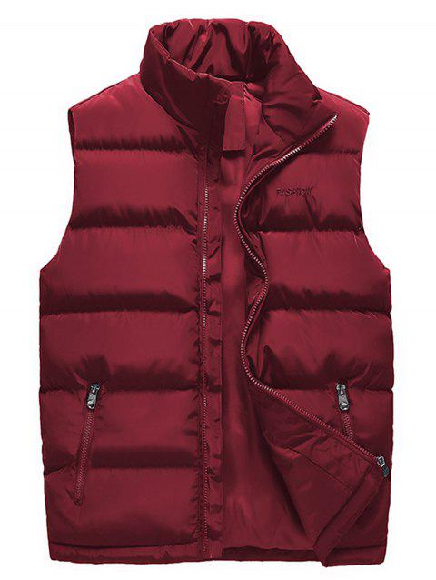Zip Up Embroidered Padded Waistcoat - WINE RED 4XL