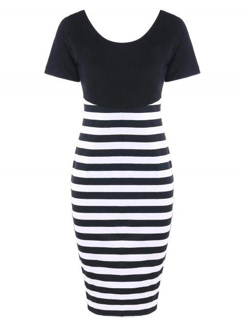 Open Back Striped Fitted Dress - BLACK WHITE L