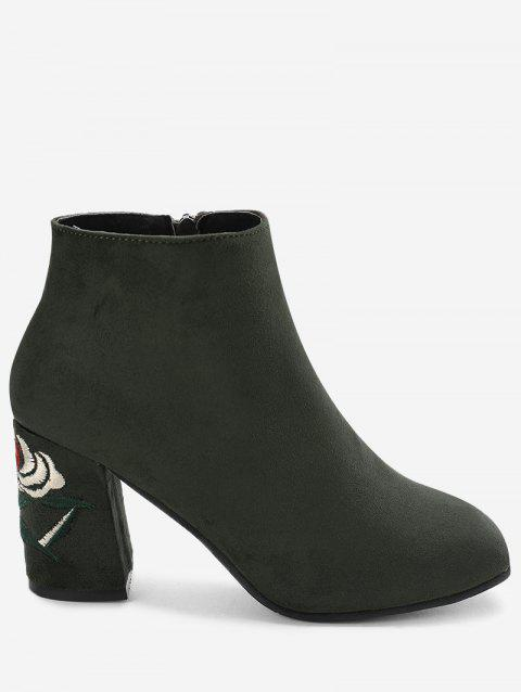Side Zip Flower Embroidery Chunky Heel Boots - GREEN 36