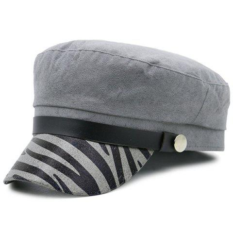 Zebra Stripes Pattern Embellished Military Hat - GRAY