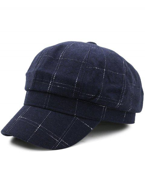 Soft Plaid Pattern Decorated Newsboy Hat - CADETBLUE