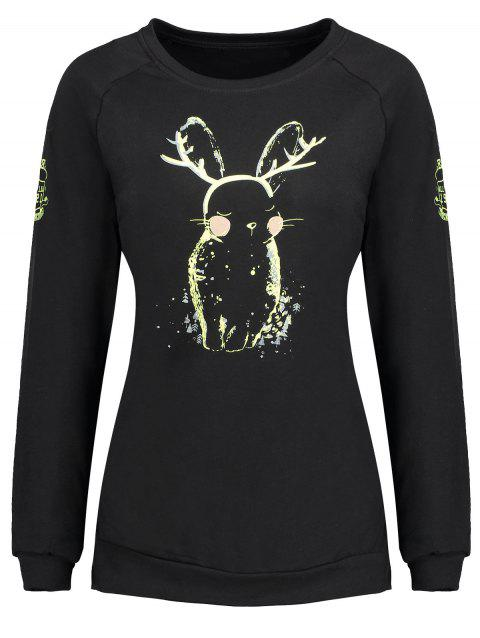 Plus Size Bunny Print Sweatshirt - BLACK 3XL