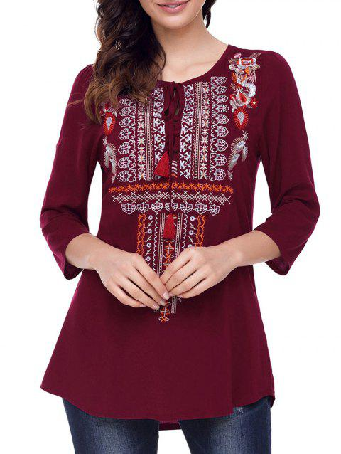 Ethnic Embroidered Tunic Blouse - WINE RED M