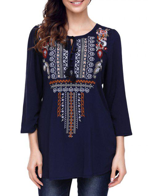 Ethnic Embroidered Tunic Blouse - BLUE L