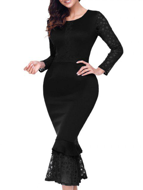 Long Sleeve Lace Panel Bodycon Mermaid Dress - BLACK M