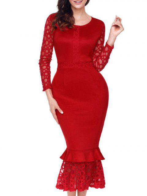 Long Sleeve Lace Panel Bodycon Mermaid Dress - RED L