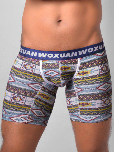 U Contour Pouch Tribal Printed Boxer Briefs - BLUE XL