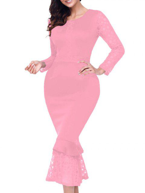 Long Sleeve Lace Panel Bodycon Mermaid Dress - PINK S