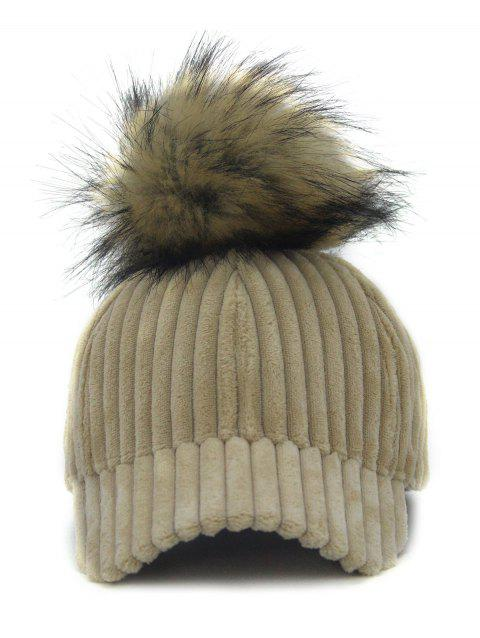 Removable Fuzzy Ball Decorated Corduroy Graphic Hat - LIGHT CAMEL