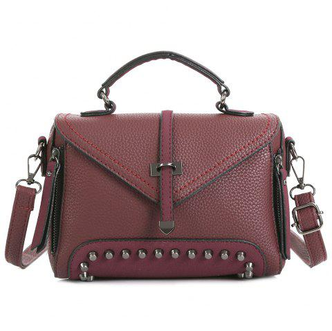 Geometric Studs Faux Leather Crossbody Bag - CLARET