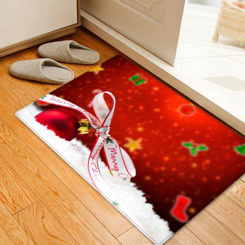 Christmas Bowknot Ball Pattern Indoor Outdoor Area Rug - RED W16 INCH * L24 INCH