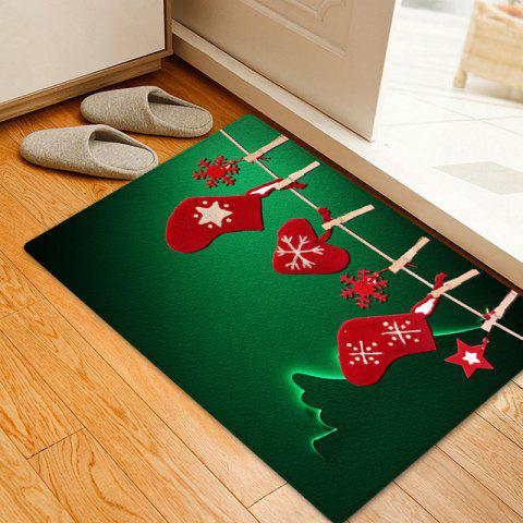 Christmas Hanging Socks Pattern Anti-skid Indoor Outdoor Area Rug - GREEN W20 INCH * L31.5 INCH