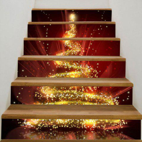 Fantasy Starlight Christmas Tree Decorative Stair Stickers - COLORFUL 100*18CM*6PCS