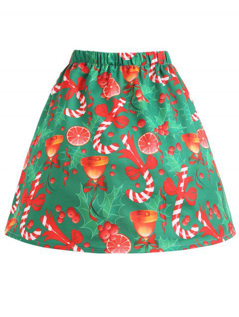 Plus Size Christmas Bowknot Bell Print Skirt - GREEN 3XL
