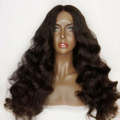 Lace Front Long Shaggy Middle Part Loose Wave Synthetic Wig - BROWN