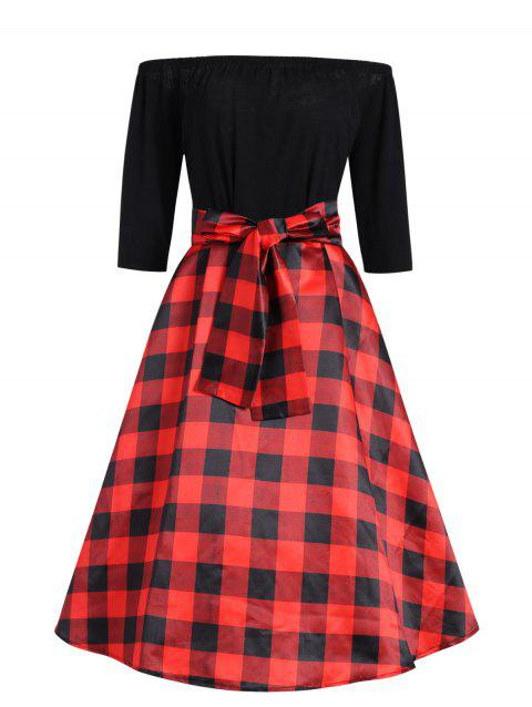 f6b33a4b26c Plus Size Checked Off The Shoulder Vintage Dress with Belt - RED BLACK XL