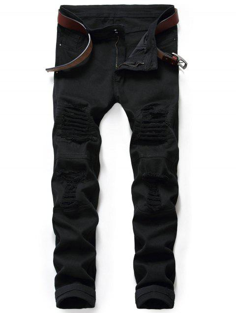 Zip Fly Destroyed Moto Jeans - BLACK 32