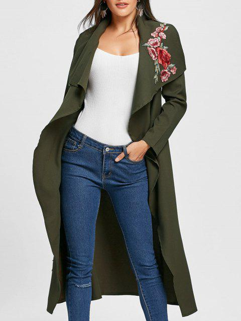 Embroidered Open Front Maxi Cardigan - ARMY GREEN M