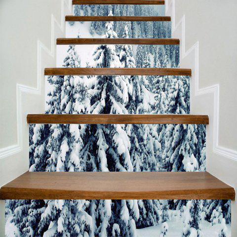 Snow Forest Print Decorative DIY Stair Stickers - COLORMIX 100*18CM*6PCS