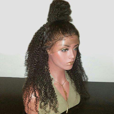 Long Free Part Bouffant Kinky Curly Lace Front Synthetic Wig - BLACK
