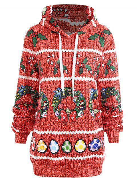 Christmas Berry Bowknot Print Plus Size Hoodie - RED 5XL