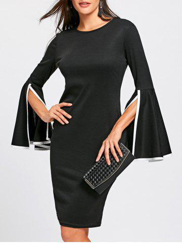656fed12567 Split Flare Sleeve Sheath Dress