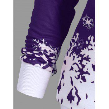Plus Size Skew Neck Christmas Snowflake Sweatshirt - PURPLE XL
