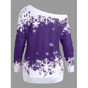 Plus Size Skew Neck Christmas Snowflake Sweatshirt - PURPLE 3XL