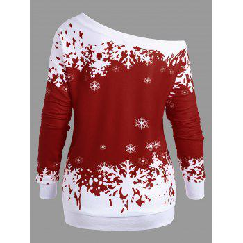 Plus Size Skew Neck Christmas Snowflake Sweatshirt - WINE RED 5XL