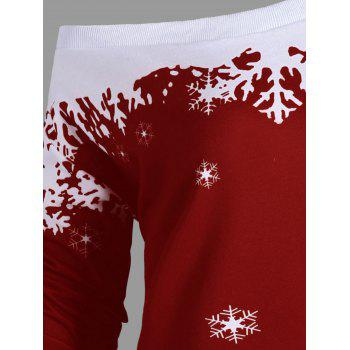 Plus Size Skew Neck Christmas Snowflake Sweatshirt - WINE RED 4XL