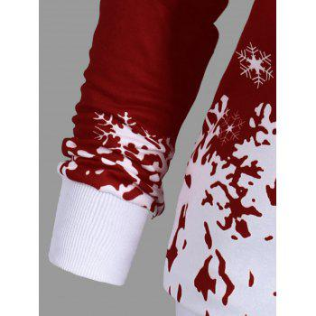 Plus Size Skew Neck Christmas Snowflake Sweatshirt - WINE RED WINE RED