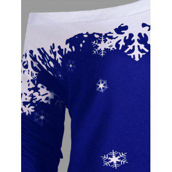 Plus Size Skew Neck Christmas Snowflake Sweatshirt - BLUE BLUE