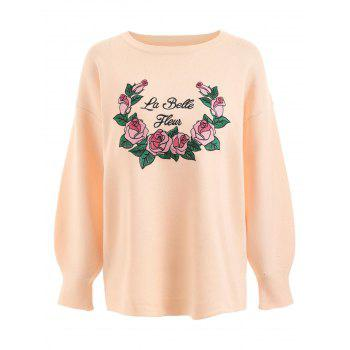 Plus Size Letter Floral Embroidered Sweater - PINKBEIGE PINKBEIGE