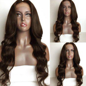 Long Loose Wave Middle Part Lace Front Human Hair Wig - BROWN BROWN