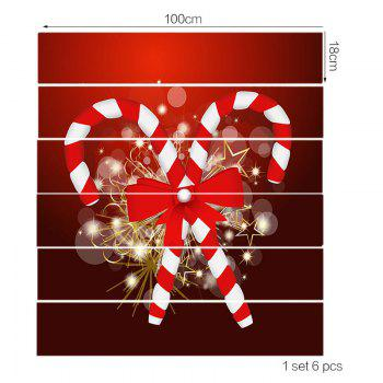 DIY Christmas Candy Sticks Printed Decorative Stair Stickers - RED 100*18CM*6PCS