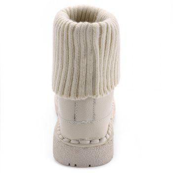 Low Heel Whipstitch Lace Up Boots - WHITE 35