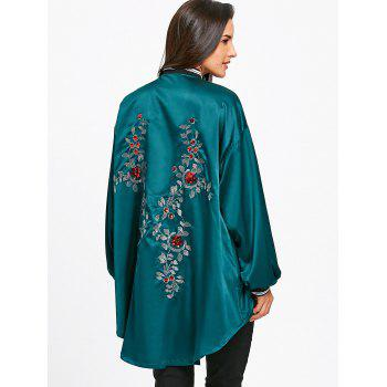 High Low Sequin Floral Drop Shoulder Jacket - BLACKISH GREEN L