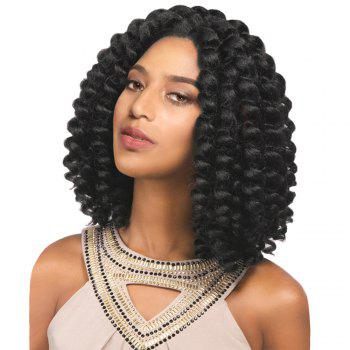 Medium Inclined Bang Twist Jumbo Braided Synthetic Wig - BLACK BLACK