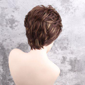 Short Side Bang Colormix Layered Shaggy Slightly Curly Synthetic Wig - COLORMIX