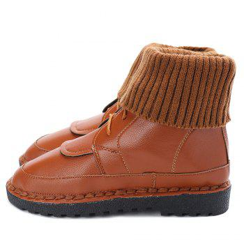 Low Heel Whipstitch Lace Up Boots - LIGHT BROWN 40