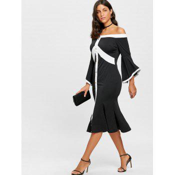 Flare Sleeve Off The Shoulder Mermaid Dress - BLACK BLACK