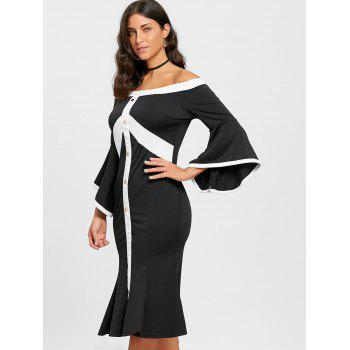 Flare Sleeve Off The Shoulder Robe sirène - Noir 2XL