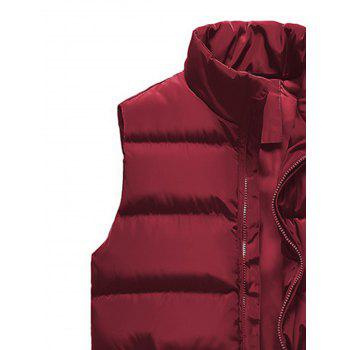 Zip Up Embroidered Padded Waistcoat - WINE RED XL