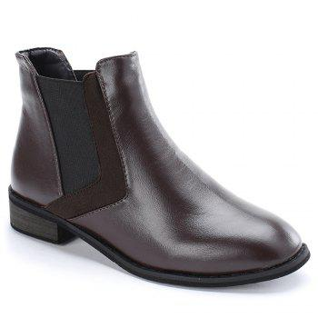 Stacked Heel Chelsea Ankle Boots - COFFEE 40